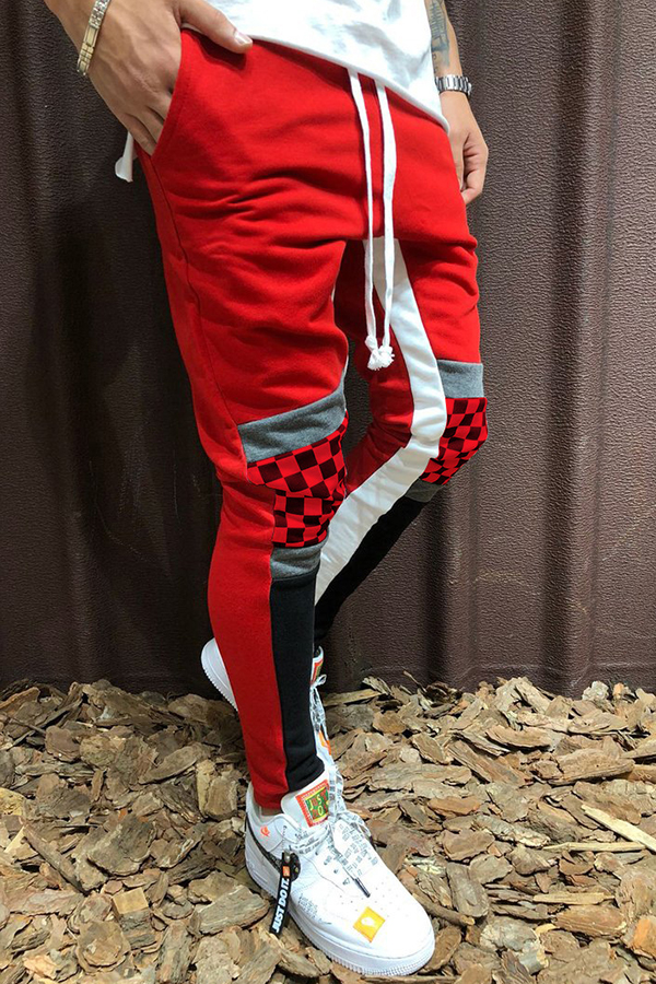 Lovely Street Patchwork Red Pants