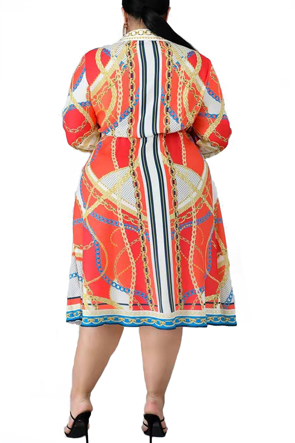 Lovely Casual Turndown Collar Printed Jacinth Knee Length Plus Size Dress