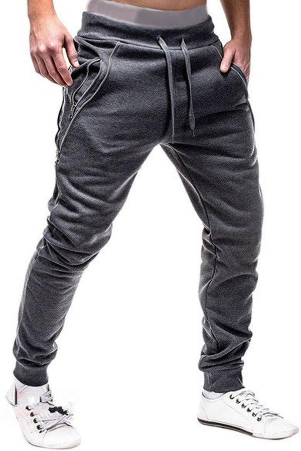 Lovely Casual Zipper Dark Grey Pants