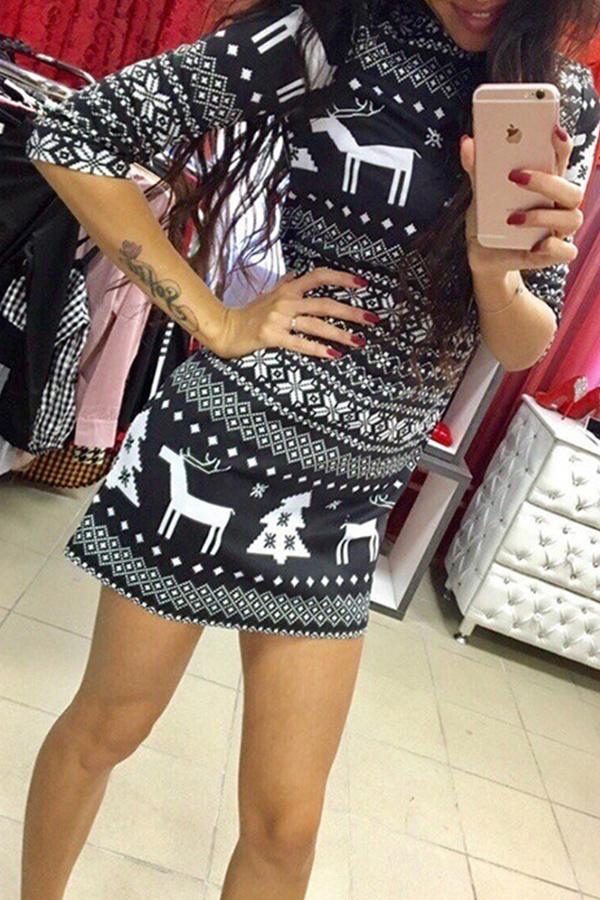 Lovely Christmas Day O Neck Printed Black Mini Dress