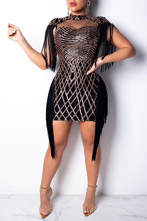 Lovely Chic Tassel Design Black Mini Dress