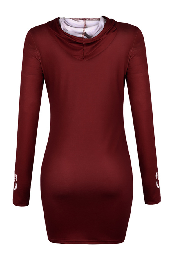 Lovely Casual Hooded Collar Cat Printed Wine Red Hoodie