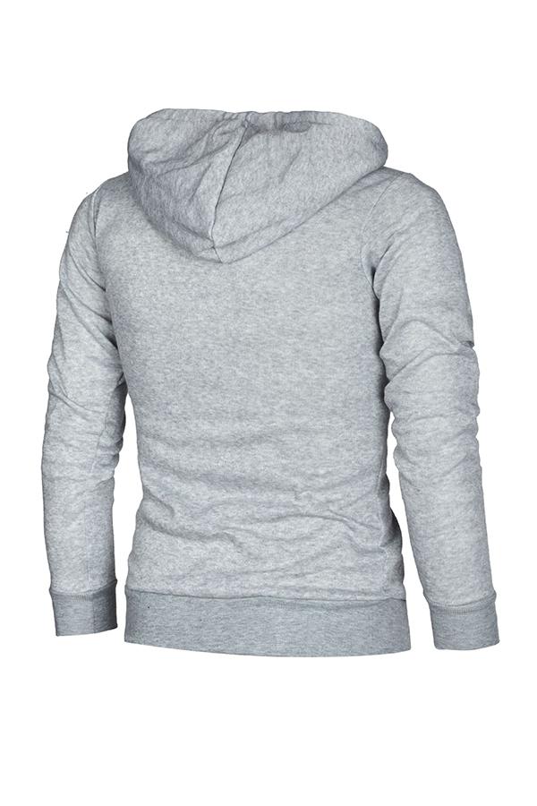 Lovely Leisure Patchwork Zipper Design Light Grey Hoodie