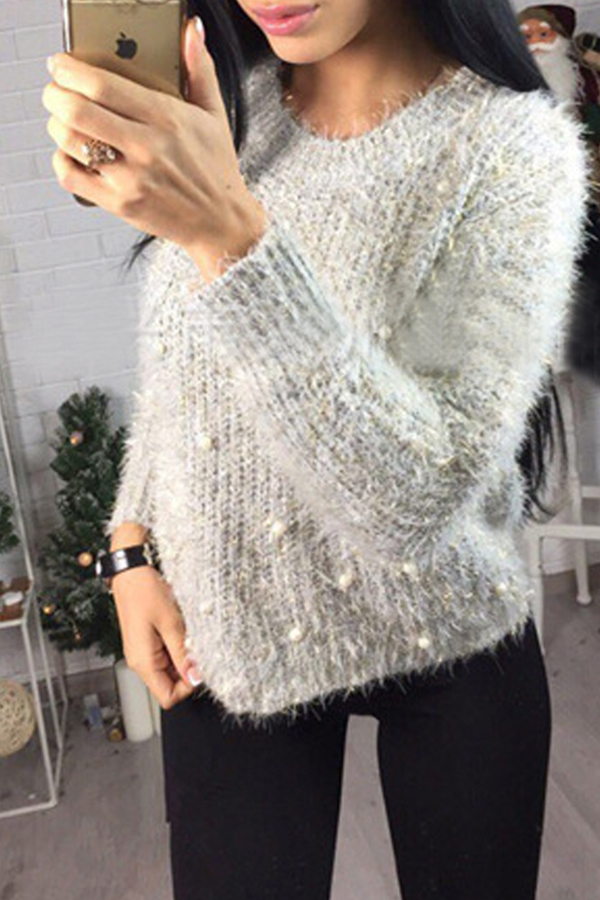 Lovely Sweet Loose Light Grey Sweater