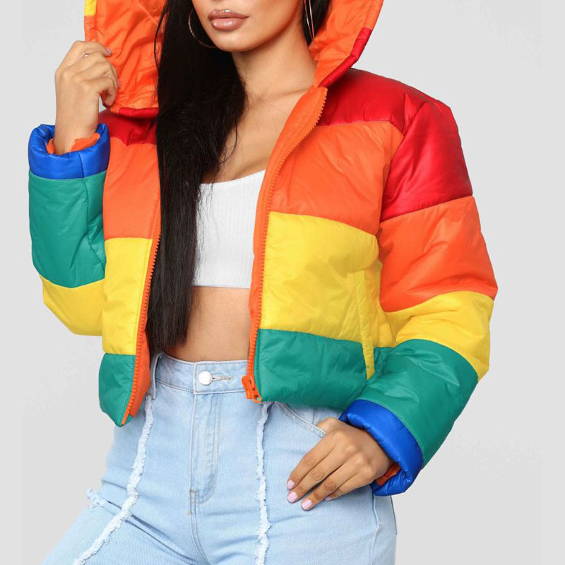 Lovely Leisure Winter Hooded Collar Striped Multicolor Coat