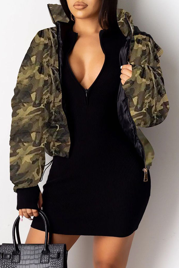 Lovely Winter Camouflage Printed Coat