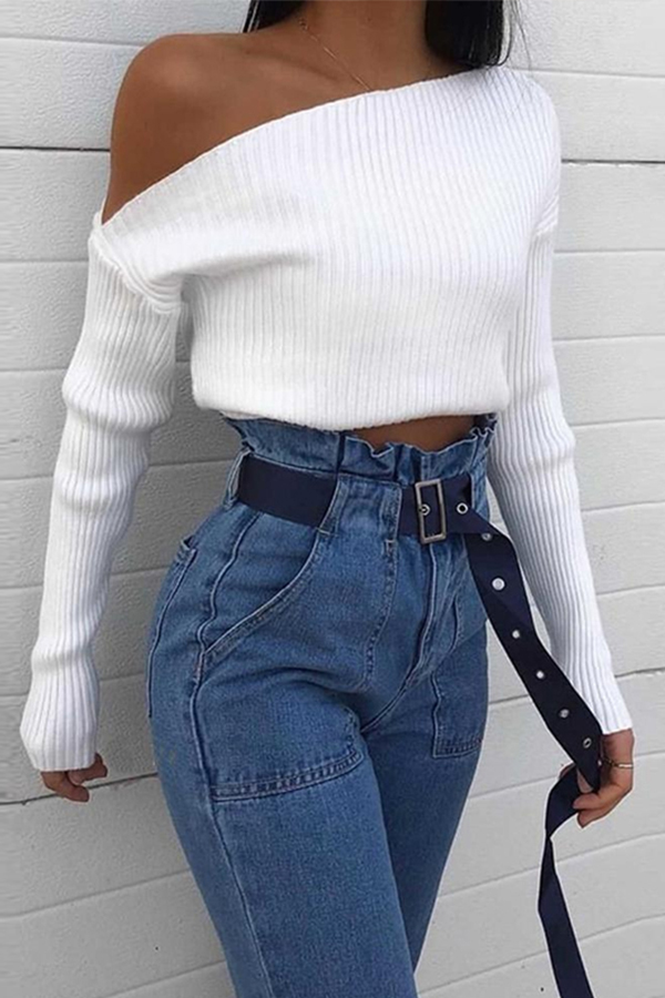 Lovely Casual Dew Shoulder White Sweater
