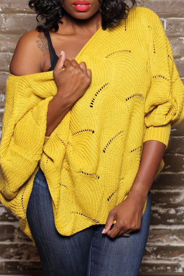 Lovely Casual Hollow-out Yellow Sweater