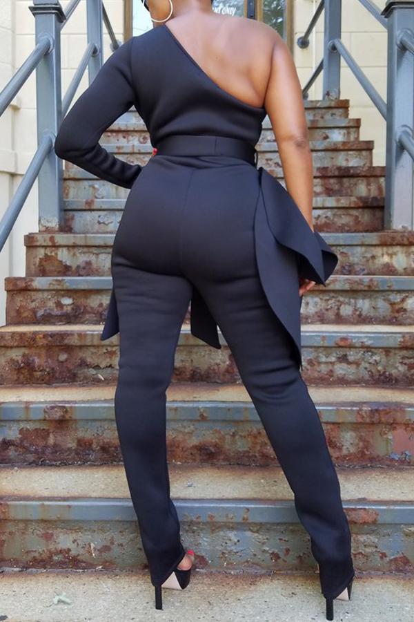 Lovely Leisure One Shoulder Black One-piece Jumpsuit
