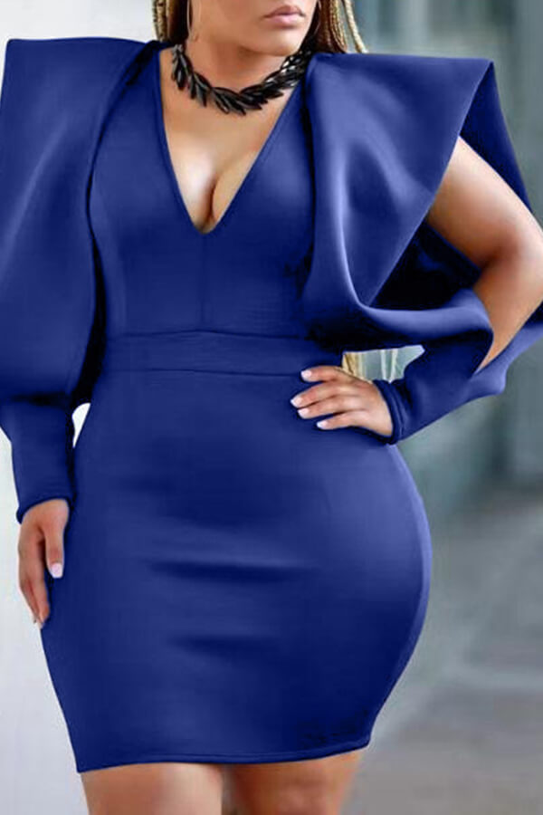 Lovely Temperament V Neck Royal Blue Mini Evening Dress