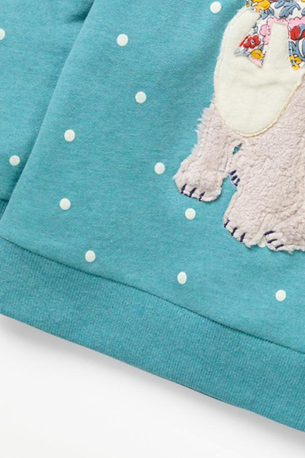 Lovely Casual Dot Light Green Girls Sweatshirt Hoodie