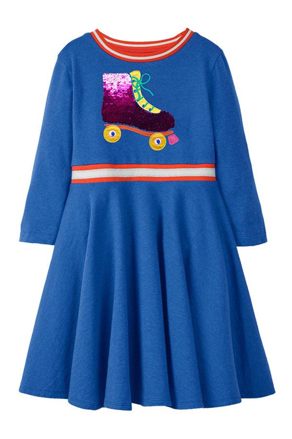 Lovely Christmas Day Patchwork Acid Blue Knee Length Girls Dress