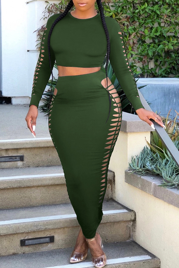 Lovely Sexy Hollow-out Army Green Two-piece Skirt Set