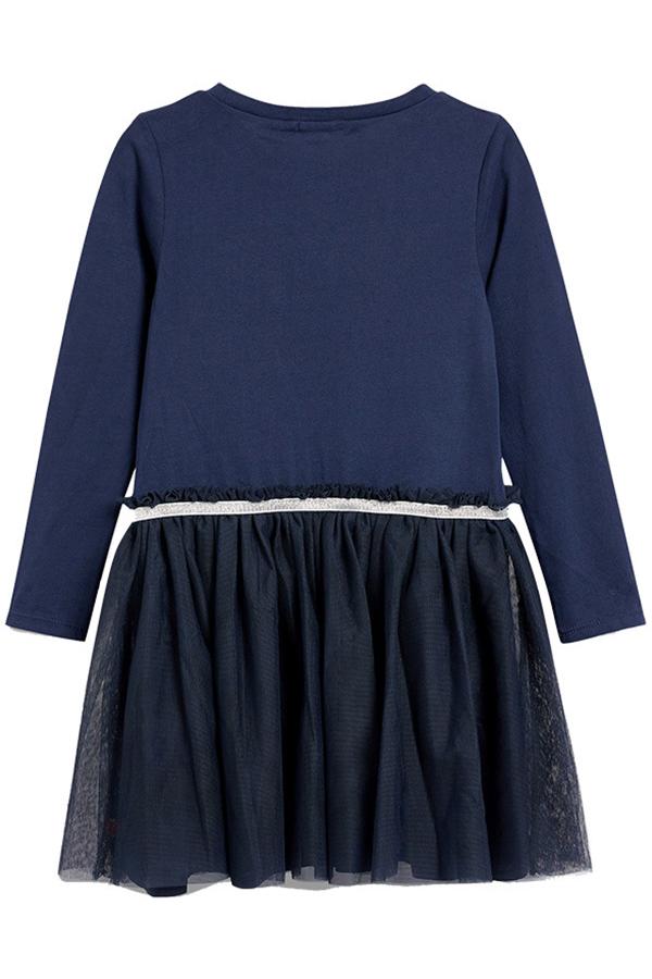 Lovely Sweet Patchwork Dark Blue Knee Length Girls Dress