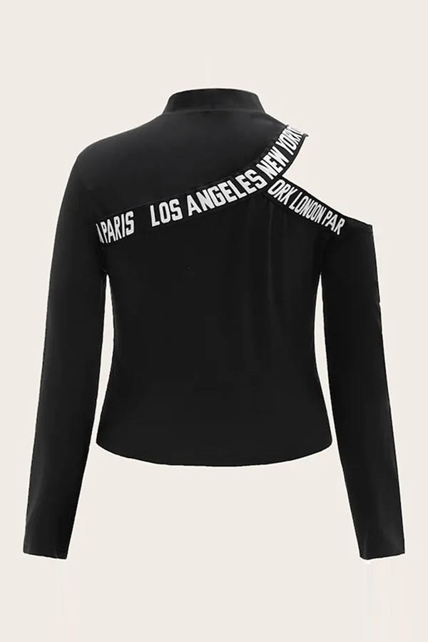 Lovely Casual Letter Printed Black Plus Size T-shirt