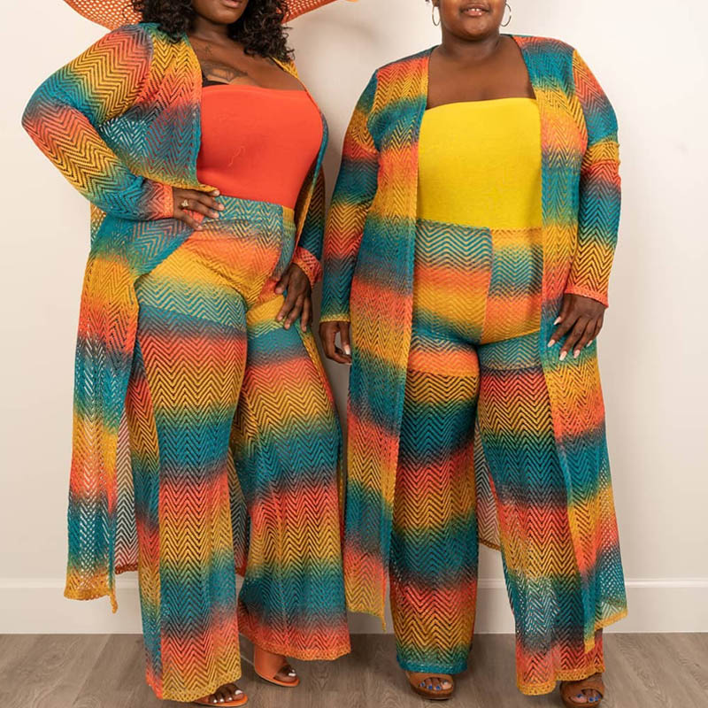 Lovely Casual Striped Multicolor Plus Size Two-piece Pants Set