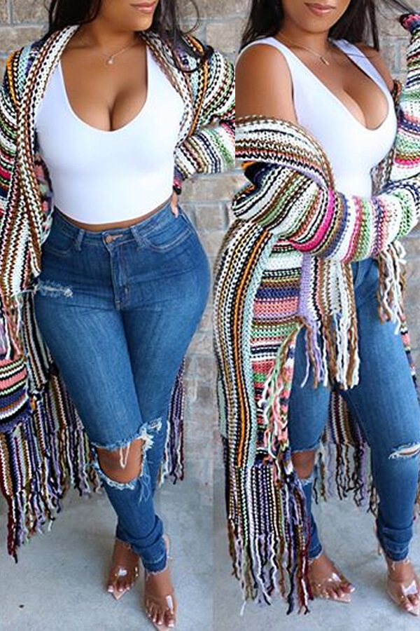 Casual Multi colored Cardigan Lovely Tassel Design Long Length Size S To XXXL