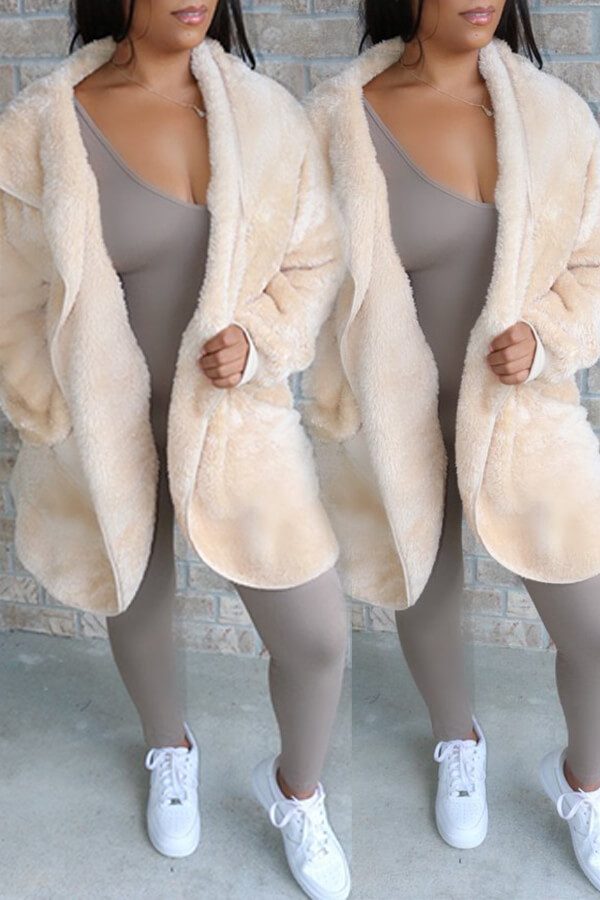 Lovely Casual Pocket Patched White Coat