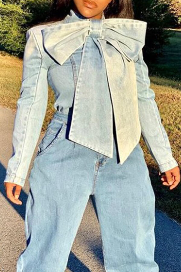 Lovely Chic Mandarin Collar Bow-Tie Denim Shirt Long Sleeves Size S To XXXL