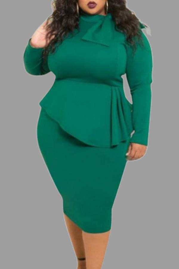 Lovely Trendy Flounce Design Deep Green Knee Length Plus Size Dress