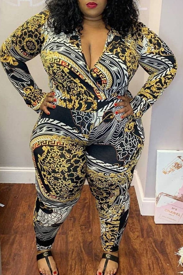 Lovely Casual V Neck Apricot Plus Size One-piece Jumpsuit