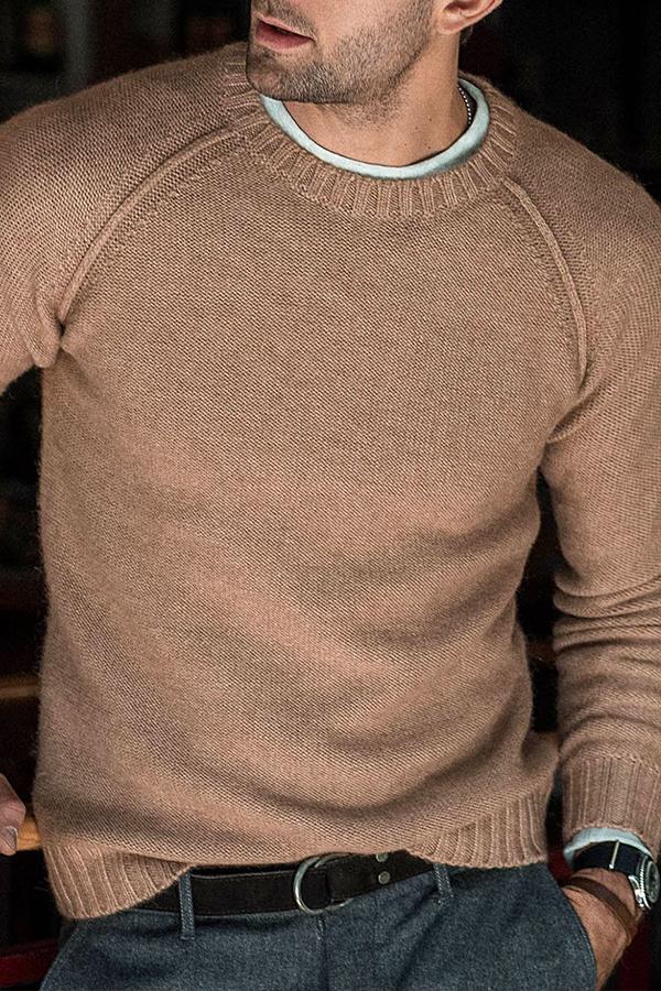 Lovely Casual Basic Khaki Sweater