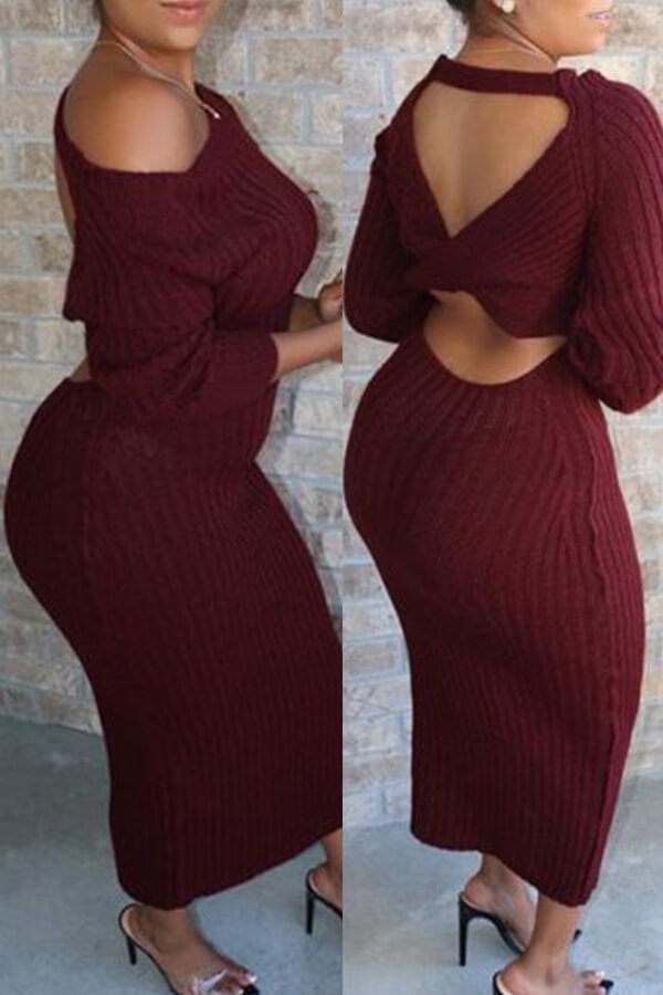 Lovely Casual O Neck Hollow-out Wine Red Ankle Length Dress