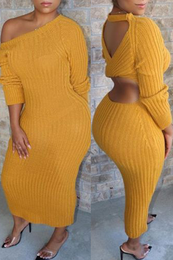Lovely Casual O Neck Hollow-out Yellow Ankle Length Dress