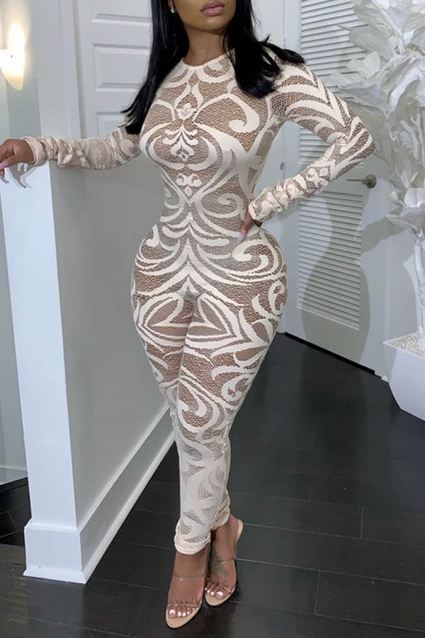 Lovely Trendy Printed Skinny White One-piece Jumpsuit