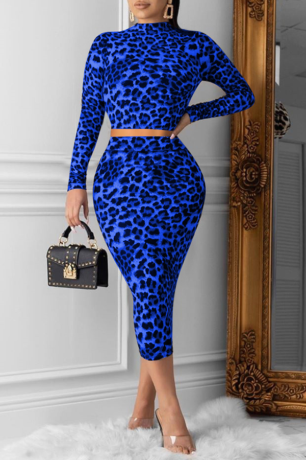 Lovely Casual Printed Blue Two-piece Skirt Set