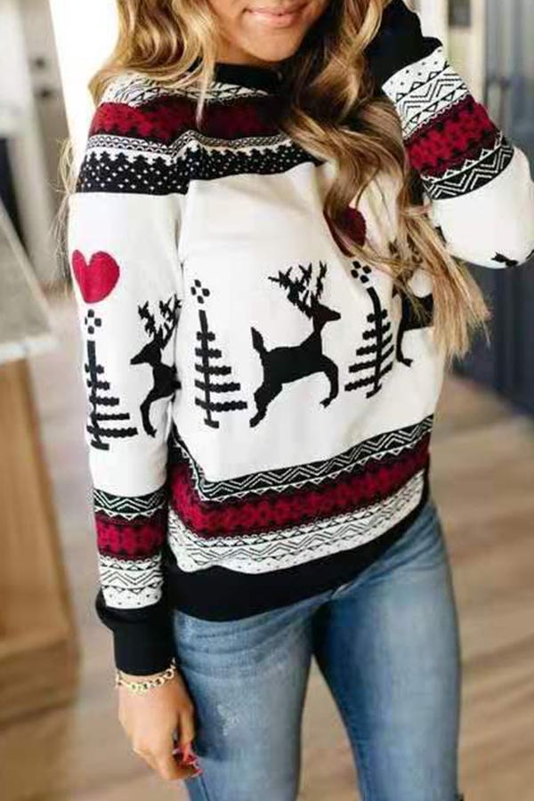 Lovely Christmas Day Printed White Sweatshirt Hoodie