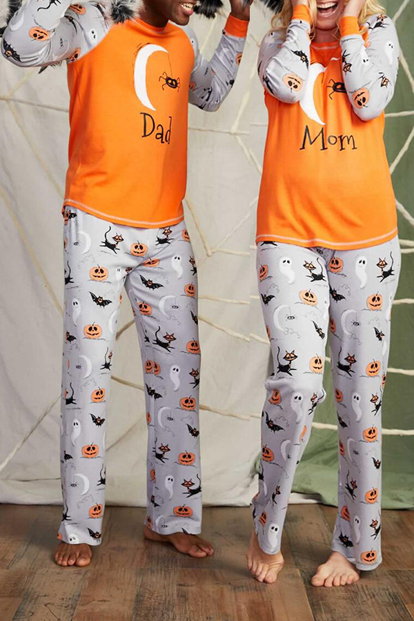 Lovely Halloween Printed Orange Father Two-piece Pants Set