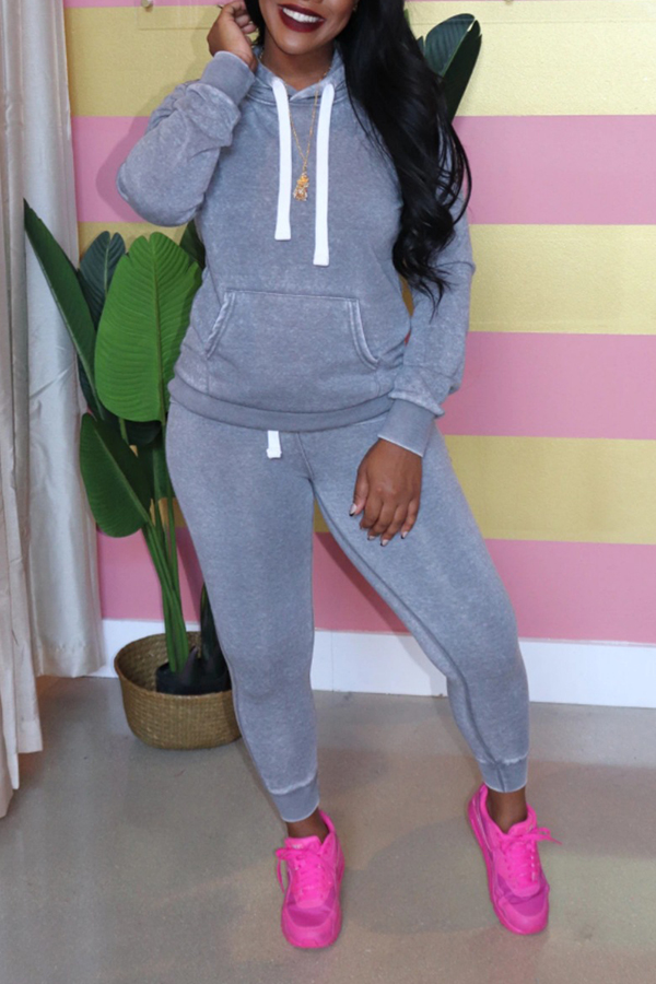 Lovely Casual Hooded Collar Grey Two-piece Pants Set