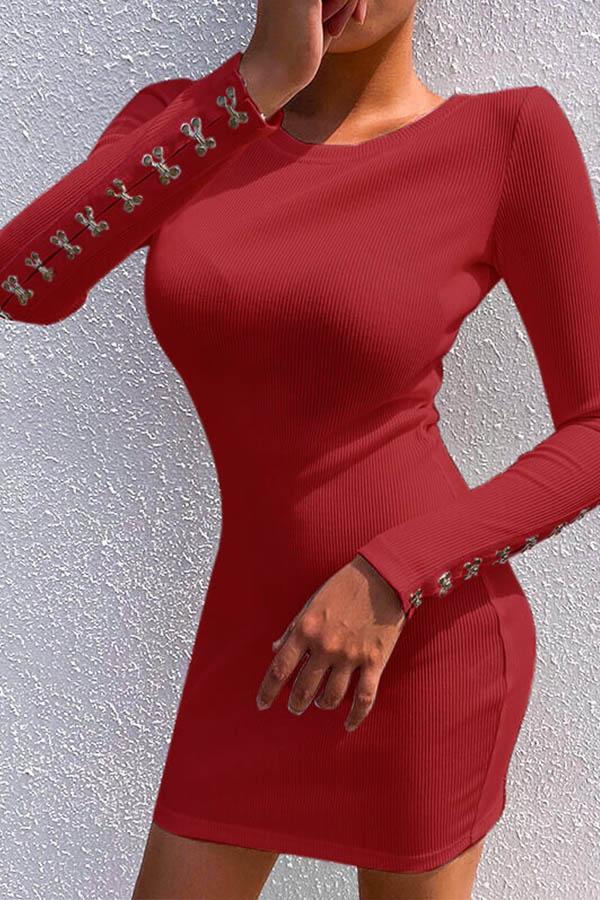 Lovely Casual Bandage Design Red Mini Dress