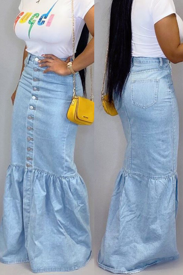 Denim Skirts Lovely Casual Patchwork Baby Blue Skirt фото