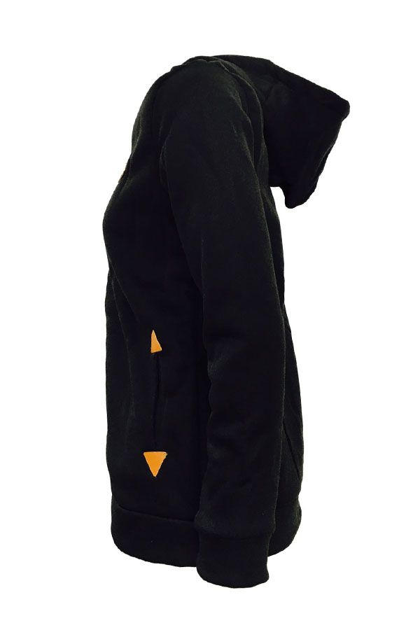 Lovely Leisure Hooded Collar Zipper Design Black Hoodie