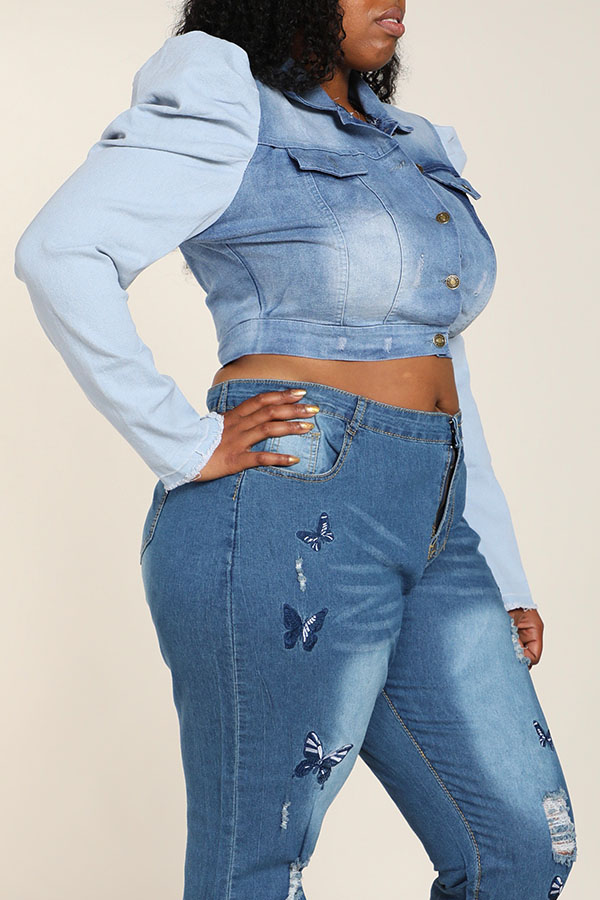 Lovely Leisure Patchwork Baby Blue Plus Size Coat
