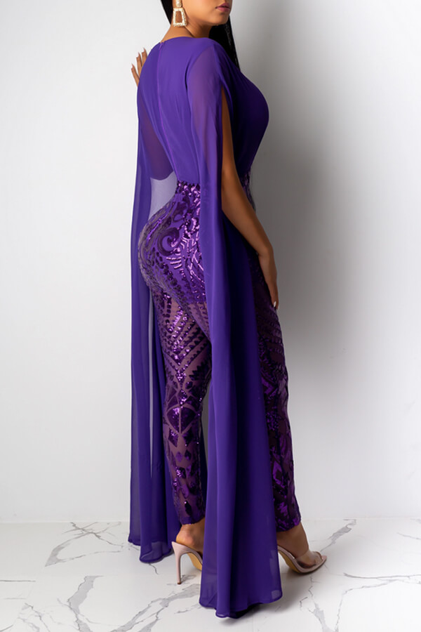 Lovely Chic Cloak Design Patchwork Purple One-piece Jumpsuit