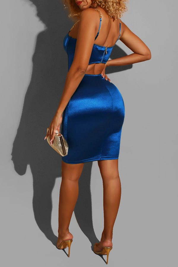 Lovely Sexy Hollow-out Blue Mini Dress