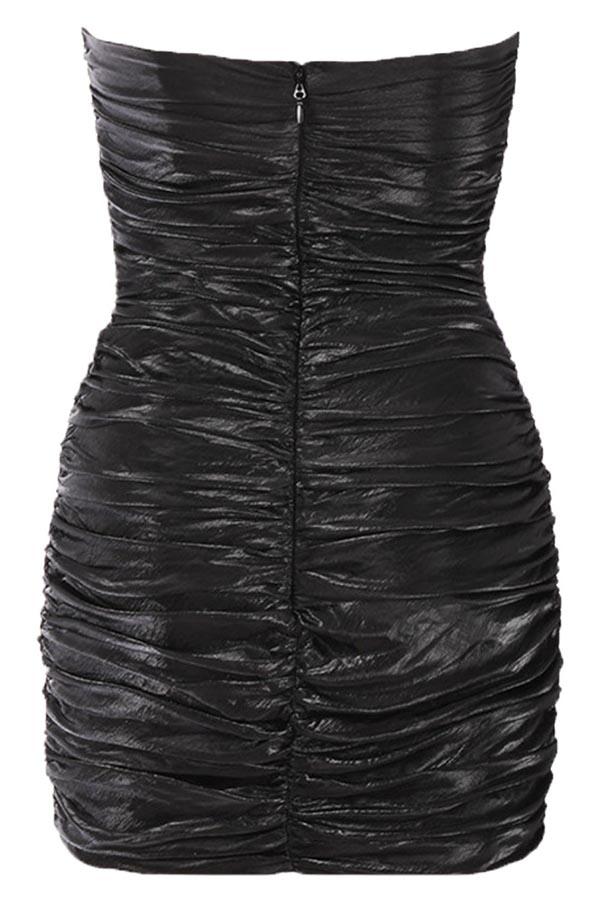 Lovely Trendy Sleeveless Ruffle Design Black Mini Dress