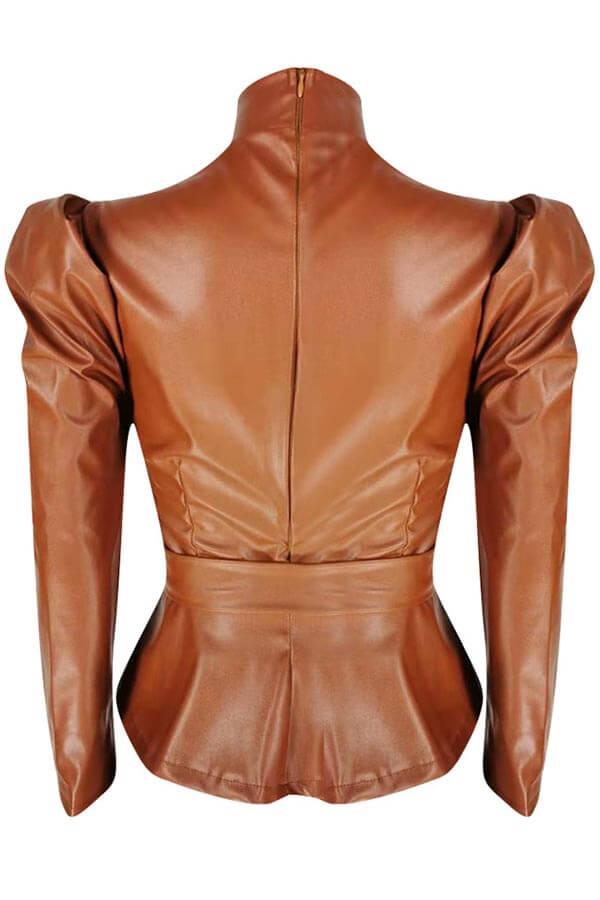 LW Trendy Mandarin Collar Lace-up Brown Blouse