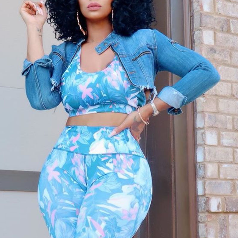 Lovely Casual Crop Top Blue Coat