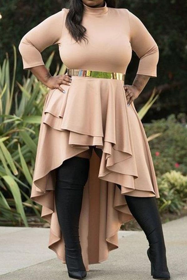 Lovely Trendy Flounce Design Apricot Ankle Length Plus Size Dress