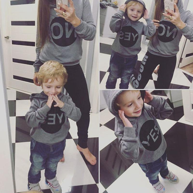 Lovely Family Hooded Collar Letter Grey Boys Hoodie