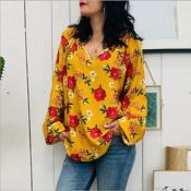 Lovely Leisure V Neck Printed Yellow Blouse