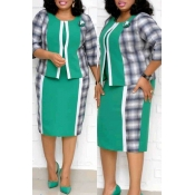 Lovely Casual Patchwork Green Plus Size Two-piece