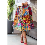 Lovely Casual Printed Multicolor Knee Length Skirt