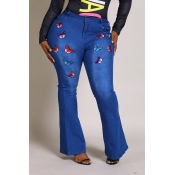 Lovely Casual Embroidered Design Blue Plus Size Je