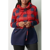 Lovely Casual Turtleneck Plaid Printed Red Sweatsh