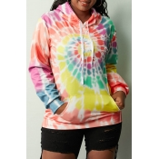 Lovely Casual Hooded Collar Tie-dye Yellow Hoodie(
